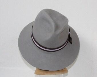 Grey Fedora Trilby Brimmed Hat Deco Wide Brim Hand Blocked Luxury Millinery Women Men