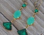 Downton Abbey Emerald and Jade Vintage Rhinestone Earrings