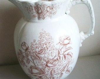 Antique Vintage Collectible  Rosedale England IronstoneTransferware Transfer Ware Large Brown Pitcher with Roses.