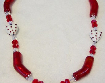 Red and White Heart Glass Necklace Valentine's Day