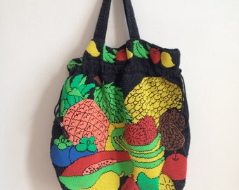 Vintage Brightly Beaded Fruit Drawstring Purse // 1970s