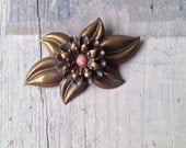 1900s Brass Flower Brooch