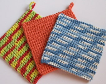 CROCHETED POTHOLDERS, Your Choice, Cotton, Hotpads, Blues, Tangerine, Holiday Red and Green