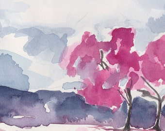 Watercolor Painting Abstract Landscape - 5 x 7 Purple and Pink Giclee Fine Art Print