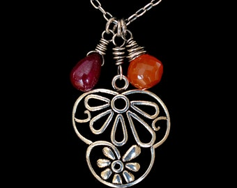 FREE SHIPPING---Ruby Carnelian Tropical Flower Necklace---Sterling Silver---Creations by Sandy