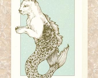 "Cougar-Mermaid 5"" x 7"" card with envelope"