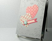 Price Slashed - Valentines Day Card Handmade Primrose Hearts on Gray Valentine Blank Inside
