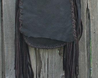 Brown fringed bag , Crossbody bag , Handmade leather handbag , Boho gypsy handbag