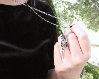 Birthstone Necklace - Bird Skull Necklace Pendant - Animal Skull Jewelry - Sterling Silver Raven Necklace - Crow Jewelry - Edgar Allen Poe