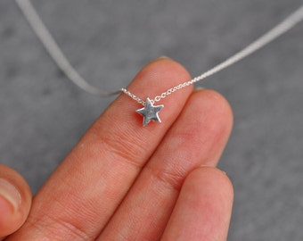 teeny Tiny star charm necklace on delicate sterling silver chain modern everyday minimal, sterling silver star necklace