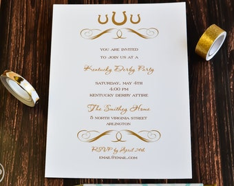 Kentucky Derby Party Invitation - Derby Party Invite - Kentucky Derby Party - Kentucky Derby Invitation Set of 20 - Kentucky Derby Party