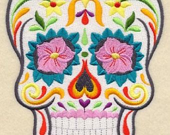 Gothic Flor Bonita Sugar Skull, Calavera, Day of the Dead Skull White Hand Towel, Embroidered