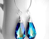 Bermuda Blue Swarovski Earring, Peacock Earring, Peacock Wedding Idea, Bridesmaid Proposal Jewelry Bridesmaid Proposal Gift Be my Bridesmaid