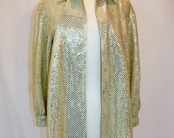 1990s Gold Glitter Blouse Top Disco Party Petite Medium Vintage REtro 90s Hipster Polyester