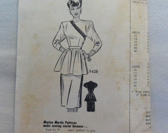 1940s Marian Martin Dress, Straight Skirt with Peplum- UNUSED Vintage Marian Martin Design Mail Order Sewing Pattern 9428- Size 12 Bust 30
