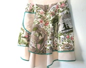 Sweet Little Vintage Reversible Apron Colonial America Motif Bride's Maid Gift Cosplay Peach Cream Teal Rose