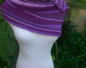 Violetta Crescent Shaped Hand Knit Pure Merino Wool Striped Shawlette or Shawl