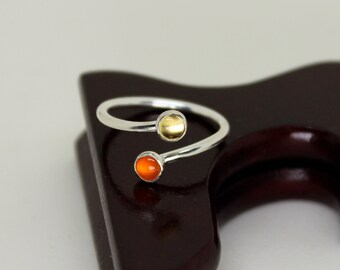 Citrine & Carnelian Ring // Sterling Silver // Duality // Open Ended  // Sterling Silver // Stacker Ring // Stacking Ring // Gemstone Ring