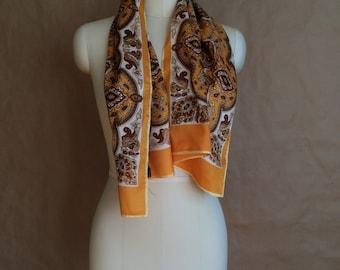WEEKEND SALE ! vintage 1970's paisley print neck scarf / boho bohemian neck scarve