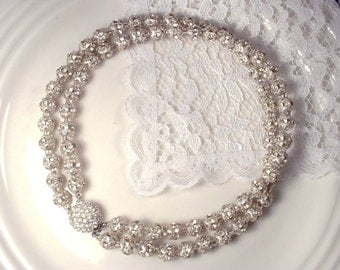 Vintage Old Hollywood Glam Pave Rhinestone Ball Silver Statement Necklace, Art Deco Clear Crystal Bridal, Modern 1920 Flapper Gatsby Jewelry