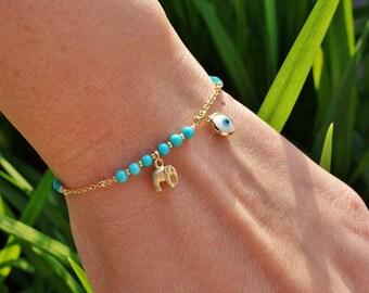 Turquoise Elephant Charm Evil Eye Bracelet