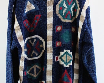 SALE - Vintage 90s Oversized Blue White Red Modern Art Woodland Sweater -  Womans Size Large
