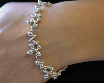 Dopamine Molecule Bracelet in Sterling Silver