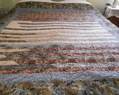 Jelly Roll Camo Quilt, unique items, bed accessory, quilt top, bed spread, bed cover, handmade items, cotton fabric, scrappy quilt, woodsy