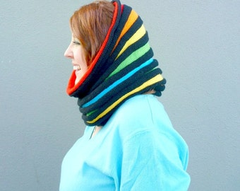 Knit Rainbow Cowl, Infinity Scarf, Hand Knitted Chunky Cowl Scarf, Striped Loop Scarf, LGBT Gay Pride Rainbow Snood, Bright Knit Fashion