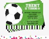 Soccer Printable Invitation - Soccer Birthday Party - Soccer Ball Invite - Green Black Stripe Soccer Invitation