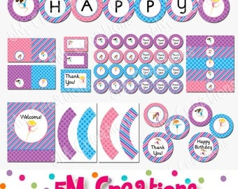 GYMNASTICS Birthday Party Printable Decorations Package - Gymnastics Banner Cupcake Toppers - Gymnast Pink Purple Blue- Instant Donwload Pdf