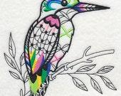 Embroidered Flour Sack Towel / Quilt Block - Blackwork Bird Design
