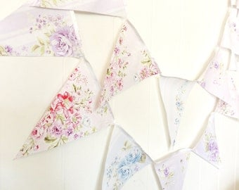 Shabby Chic Fabric Banner, Bunting, Pennant Flags, Pink, Blue, Purple Floral Wedding Decor, Photo Prop, Baby Nursery Decor, Birthday Party