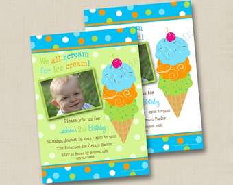 We All Scream For Ice Cream Boy Custom Birthday Party Invitation Design - any age