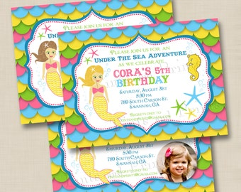 Girlie Mermaid Under the Sea Custom Birthday Party Invitation Design- with or without photo- any age