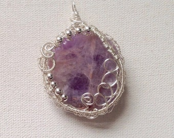 Amethyst pendant wirewrapped silver wire,gemstone pendant,