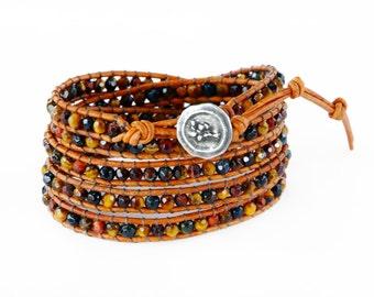 Tigers Eye 5X Beaded Leather Wrap Bracelet, 4mm Blue, Gold, and Red faceted Tigers Eye beaded leather wrap, multicolored Tigers Eye wrap