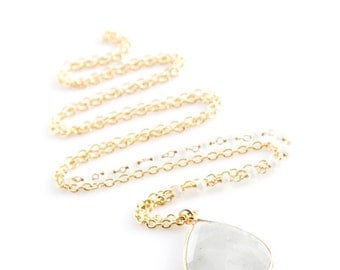 Gold edged Moonstone with wire wrapped moonstone - NG06