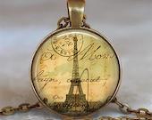 Letters from Paris pendant, Paris necklace, Paris jewelry, Eiffel Tower pendant,  French pendant, Paris keychain key fob