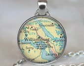 Williamsburg, Virginia map pendant, Williamsburg map necklace, Williamsburg pendant map jewelry keychain key chain