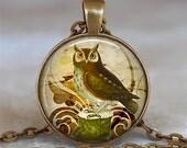 Antique Owl pendant, owl necklace, owl jewelry, owl jewellery, owl lover gift, owl lover necklace owl keychain key chain key ring key fob