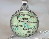 Florence, Italy map necklace, Florence necklace Florence map pendant, Florence pendant, map jewelry map keychain key chain