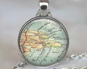 Dominican Republic map necklace, Dominican Republic necklace DR map jewelry brooch pin map pendant key chain key ring key fob hat pin
