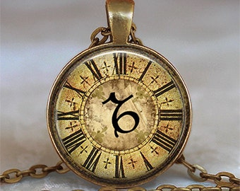 Steampunk Zodiac Capricorn pendant, Capricorn necklace, Capricorn jewelry, Zodiac jewelry, Zodiac pendant, keychain