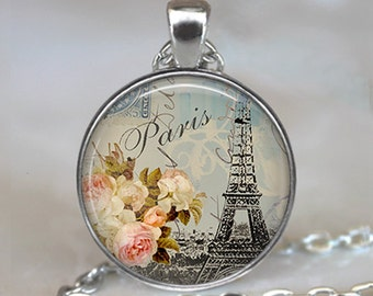 Shabby-chic Paris pendant, Paris necklace, Paris necklace, Paris jewelry, Paris keychain Paris key chain Paris key fob