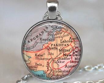 Pakistan map pendant, Pakistan necklace, Pakistan pendant, map jewelry Pakistan map necklace keychain key chain