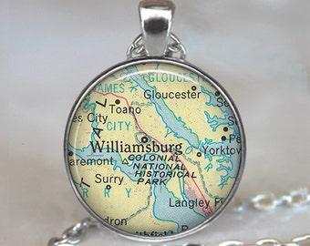 Williamsburg, Virginia map pendant, Williamsburg map necklace, Williamsburg pendant map jewelry keychain key chain