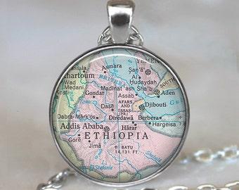 Ethiopia map pendant, Ethiopia map necklace Ethiopia necklace Ethiopia pendant adoption pendant keychain key chain