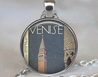 Venice Vintage Travel pendant, Venice, Italy necklace Venice travel memento pendant Venice pendant keychain key fob