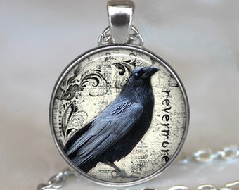 Poe's Raven pendant, raven necklace Poe Nevermore Goth jewelry literary pendant, raven jewellery, raven key fob keychain key chain